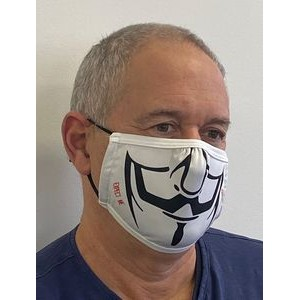 2 Layer Sublimated Flat Cloth Face Mask w/ adjustable silicone toggles - Positional Sublimation